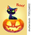boo  cat and face pumpkin ... | Shutterstock .eps vector #735126832