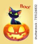 boo  cat and face pumpkin ... | Shutterstock .eps vector #735126832