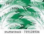 illustration with tree coconut... | Shutterstock . vector #735128536