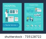 hospital data and nurse service ... | Shutterstock .eps vector #735128722