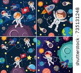 space scenes with astronauts... | Shutterstock .eps vector #735131248