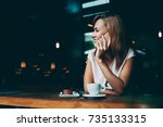 young happy hipster girl... | Shutterstock . vector #735133315