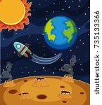 rocket ride in dark space... | Shutterstock .eps vector #735133366