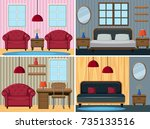 four scenes of rooms in the... | Shutterstock .eps vector #735133516