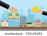 the agent sells the house in...   Shutterstock .eps vector #735134392