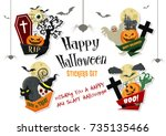 happy halloween vector stickers ... | Shutterstock .eps vector #735135466
