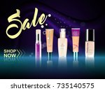 cosmetic product foundation...   Shutterstock .eps vector #735140575