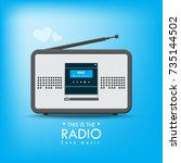 technology music radio blue... | Shutterstock .eps vector #735144502