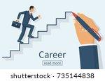 man is climbing career ladder.... | Shutterstock .eps vector #735144838