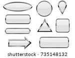 white buttons set. glass icons...   Shutterstock .eps vector #735148132