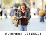 front view of a fashion girl...   Shutterstock . vector #735150175