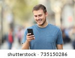front view of a happy casual... | Shutterstock . vector #735150286