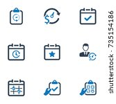 event schedule icons   blue... | Shutterstock .eps vector #735154186