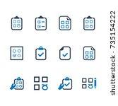 checklist icons  blue version  | Shutterstock .eps vector #735154222