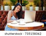 successful female person...   Shutterstock . vector #735158362