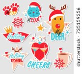 christmas set of stickers  pins ... | Shutterstock .eps vector #735159256