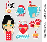 set of stickers  pins  patches... | Shutterstock .eps vector #735159286