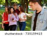 jealousy and envy in friends... | Shutterstock . vector #735159415