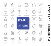 line icons set. gym pack.... | Shutterstock .eps vector #735163285