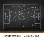 chalkboard with soccer game... | Shutterstock .eps vector #735163465