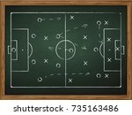 chalkboard with soccer game... | Shutterstock .eps vector #735163486
