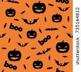 seamless halloween pattern with ... | Shutterstock .eps vector #735164812