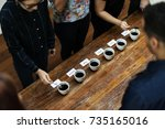 types of coffee placed to taste ... | Shutterstock . vector #735165016