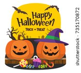 happy halloween and trick or... | Shutterstock .eps vector #735170872