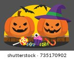 happy halloween and trick or... | Shutterstock .eps vector #735170902