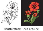 flower red poppy on black and... | Shutterstock .eps vector #735176872