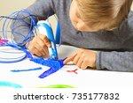 focused child creating new 3d... | Shutterstock . vector #735177832