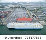 aerial view car carrier ship in ... | Shutterstock . vector #735177886