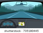 car on the road  a view from... | Shutterstock . vector #735180445