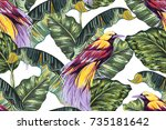 tropical seamless vector floral ... | Shutterstock .eps vector #735181642