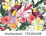 floral seamless vector tropical ... | Shutterstock .eps vector #735181648