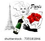 happy woman traveling in paris  ... | Shutterstock .eps vector #735181846