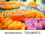 thai desserts variety colors... | Shutterstock . vector #735184072