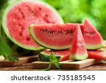 tasty sliced watermelon on... | Shutterstock . vector #735185545