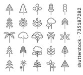tree line icons set | Shutterstock .eps vector #735187282