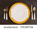tableware   set of white and... | Shutterstock . vector #735189766