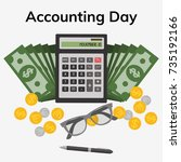 accounting day. november 10.... | Shutterstock .eps vector #735192166