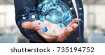 flying earth network interface... | Shutterstock . vector #735194752