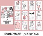 calendar 2018. cute cats for... | Shutterstock .eps vector #735204568
