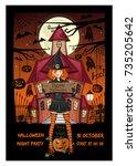 halloween invitation card. cute ... | Shutterstock .eps vector #735205642