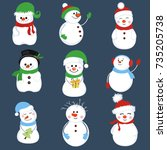 snowman collection. snowman set ... | Shutterstock .eps vector #735205738