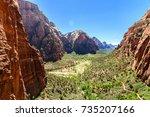 amazing view of angels landing... | Shutterstock . vector #735207166