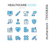 healthcare icons. vector line... | Shutterstock .eps vector #735208306