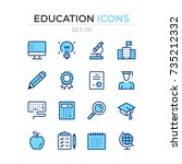 education icons. vector line... | Shutterstock .eps vector #735212332
