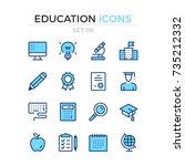 education icons. vector line... | Shutterstock .eps vector #735212332