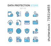 data protection icons. vector... | Shutterstock .eps vector #735214855